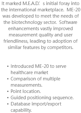It marked M.E.A.D.'s initial foray into the international marketplace. ME-20 was developed to meet the needs of the biotechnology sector. Software enhancements vastly improved measurement quality and user friendliness, leading to adoption of similar features by competitors. Introduced ME-20 to serve healthcare market Comparison of multiple measurements. Point location. Guided positioning sequence. Database import/export capability.
